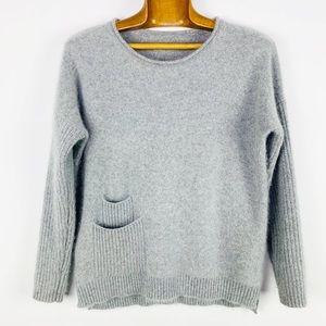 Vintage grey fuzzy crewneck boatneck sweater s